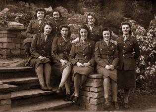 Group of ATS girls on steps
