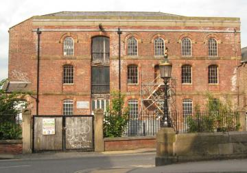 Victorian warehouse building, disused, during (discontinued) renovation work