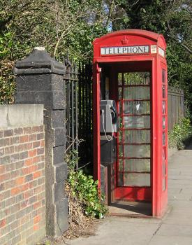 Traditional red phone box, door missing