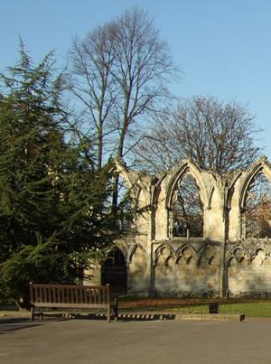 View towards medieval abbey ruin, with large evergreen tree in foreground