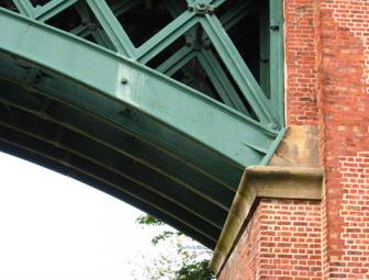 Brick and painted iron, detail of viaduct