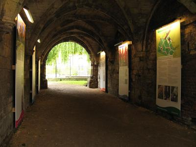 Tunnel as above, but with coffins removed, and display panels on the walls
