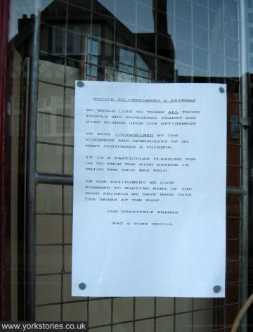 Notice on shop door after closure