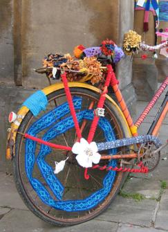 Bicycle decorated with textiles