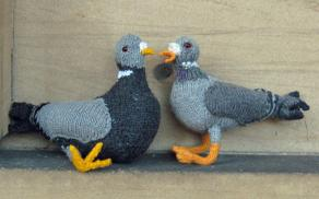 Knitted pigeons on stone ledge (1)