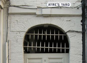 Gateway to passage, with Ayre's Yard sign above