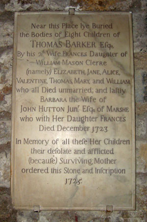 Early 18th century memorial, stone tablet with inscription