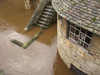 Barker Tower, near Lendal Bridge, in floodwater, 26 Sept 2012