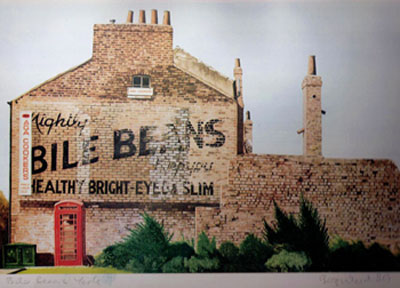Painting of ghost sign on gable end wall