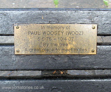 Bench with memorial plaque