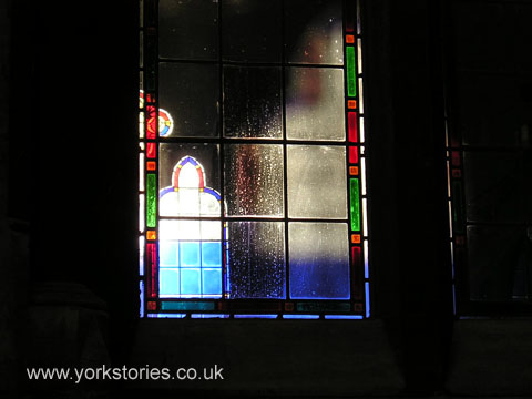 Light through stained glass window