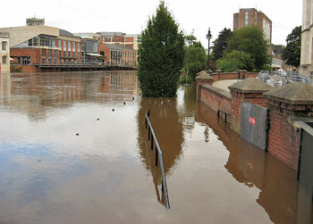 Flood waters and flood defence walls