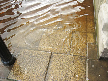 Pavement and floodwater