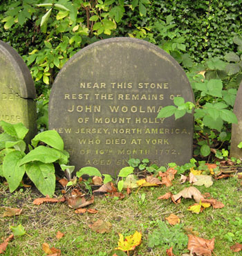 Memorial to John Woolman, York. Small plain headstone with curved top.