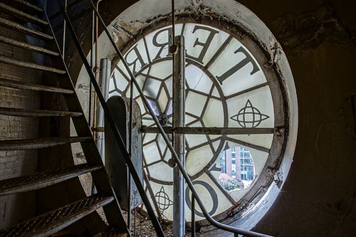 Broken glass in clock face, from inside clock tower