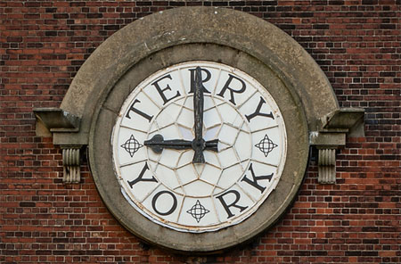 Clock face with Terry's lettering