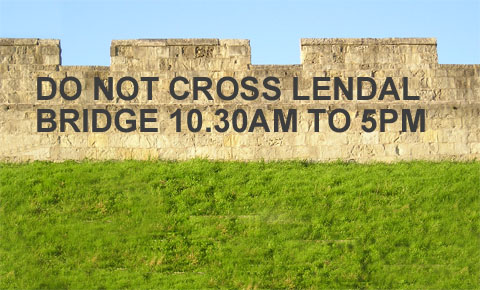 Words superimposed on image of city walls