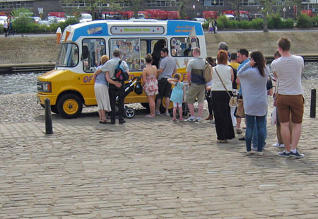 Ice cream van with queue