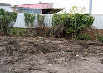 Muddy ground, trenches
