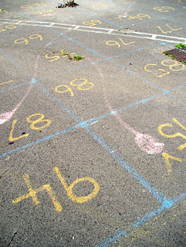 Concrete painted with squares, numbers, snakes and ladder