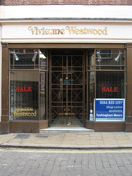 Empty shop, with Vivienne Westwood branding