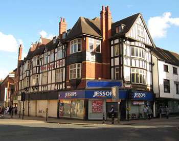 Mock tudor style building occupying corner site
