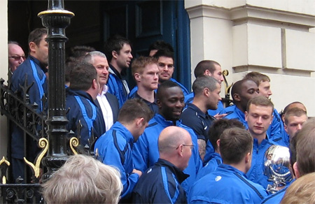 Team members gathered on Mansion House steps