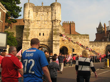 Fans and well-wishers near Bootham Bar