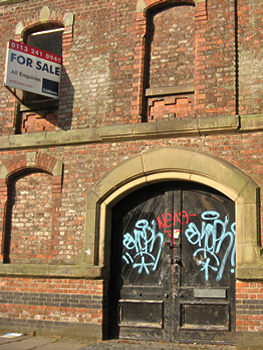 For Sale sign on Bonding Warehouse, York, June 2011