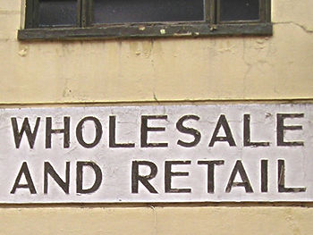 Detail of lettering – 'WHOLESALE AND RETAIL' – 2007