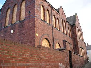 St Barnabas – view from back alley off Bromley Street