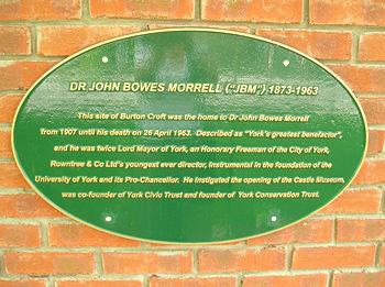 Burton Croft – J B Morrell plaque