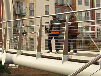 Pedestrians testing new Hungate bridge