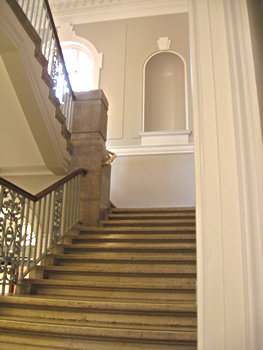 Stairway to the local history section