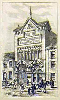 1884 illustration of horse repository, York