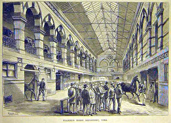 Interior view (illustration) of horse repository, York (1884)