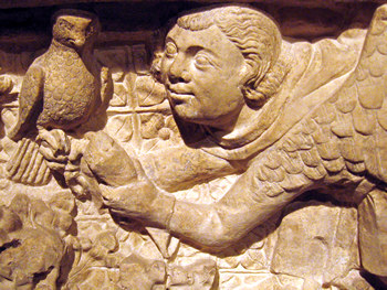 Medieval carving – figure with bird