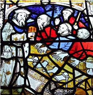 'Corporal Acts of Mercy' window, All Saints, North Street