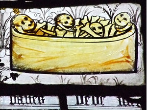 Detail from the 'Pricke of Conscience' window, All Saints, York
