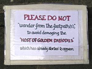 Sign in churchyard