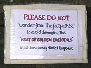 Sign in churchyard