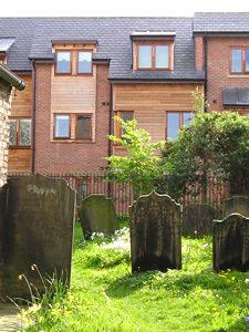 Modern development overlooking Holy Trinity