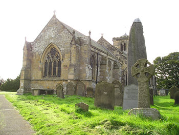 View of Rudston church, and monolith