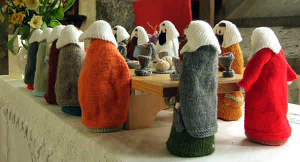 Last Supper, knitted figures, St Denys's Church
