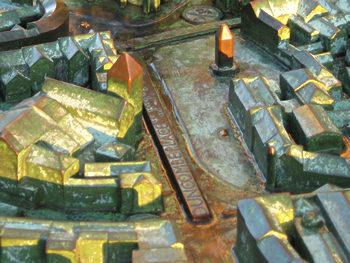 Patina on bronze model, York city centre