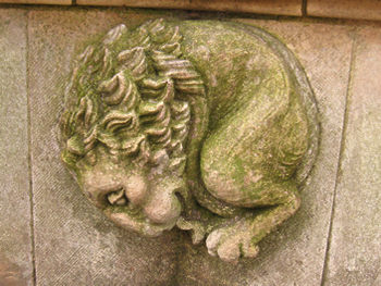 Carved figures on stone bench, York