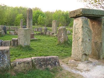 View of 'mini-Stonehenge' – the 'dragon stones'