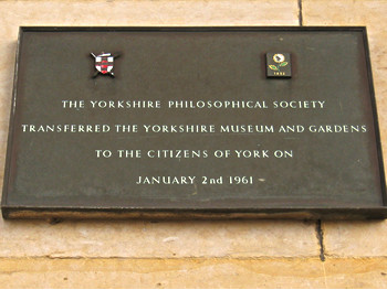 Plaque on Yorkshire Museum