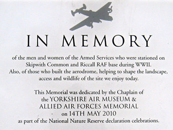 Riccall airfield memorial plaque – detail