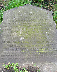 Headstone – Thomas Gowland. Click to enlarge.